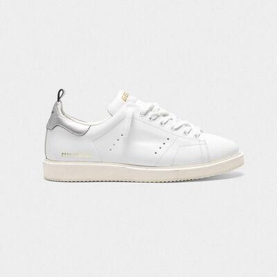 Starter sneakers in leather with metallic heel tab