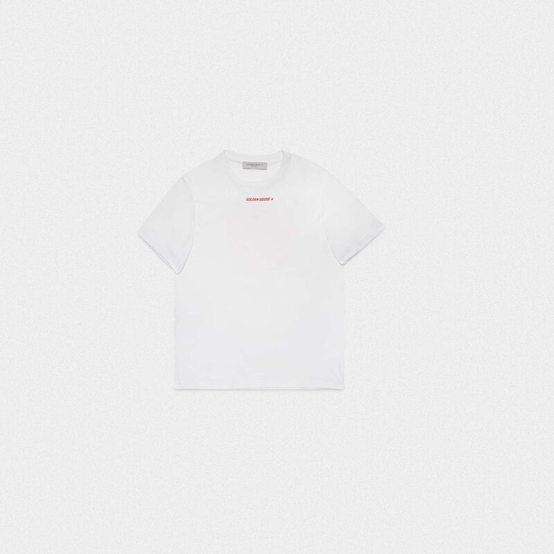 Golden Goose - White Golden T-shirt with red flag print on the back in  image number null
