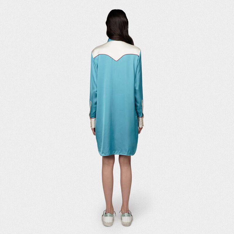 Golden Goose - Vestito chemise Skylar in raso beige e azzurro in  image number null