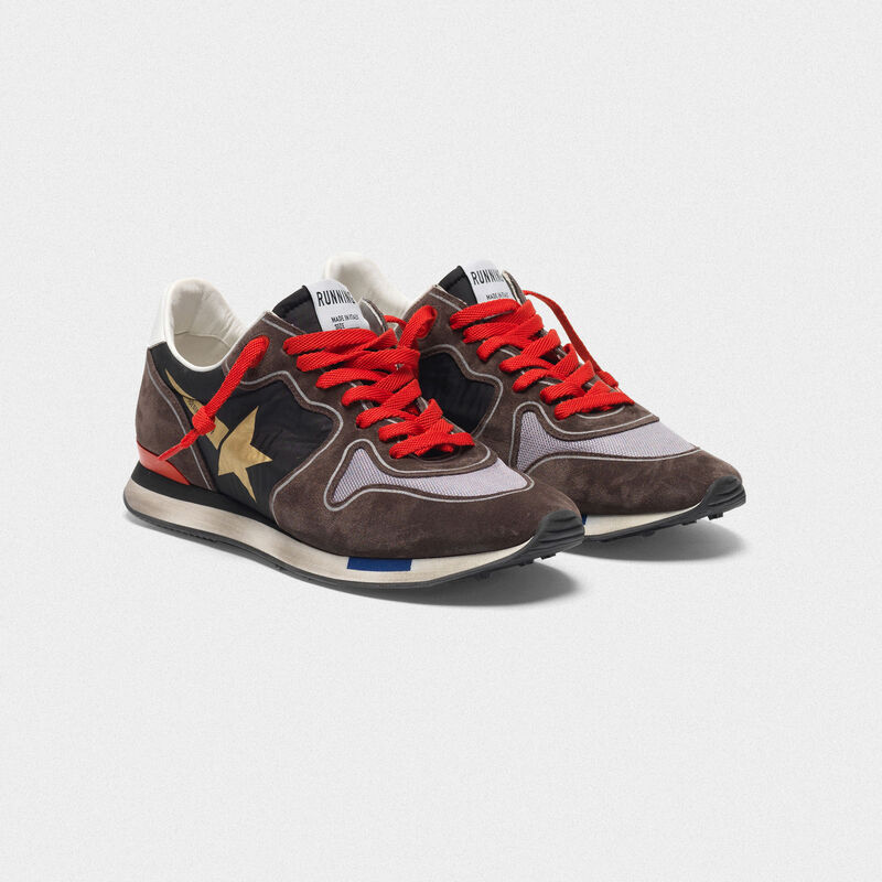 Golden Goose - Sneakers running in suede con inserto mesh e nylon in  image number null