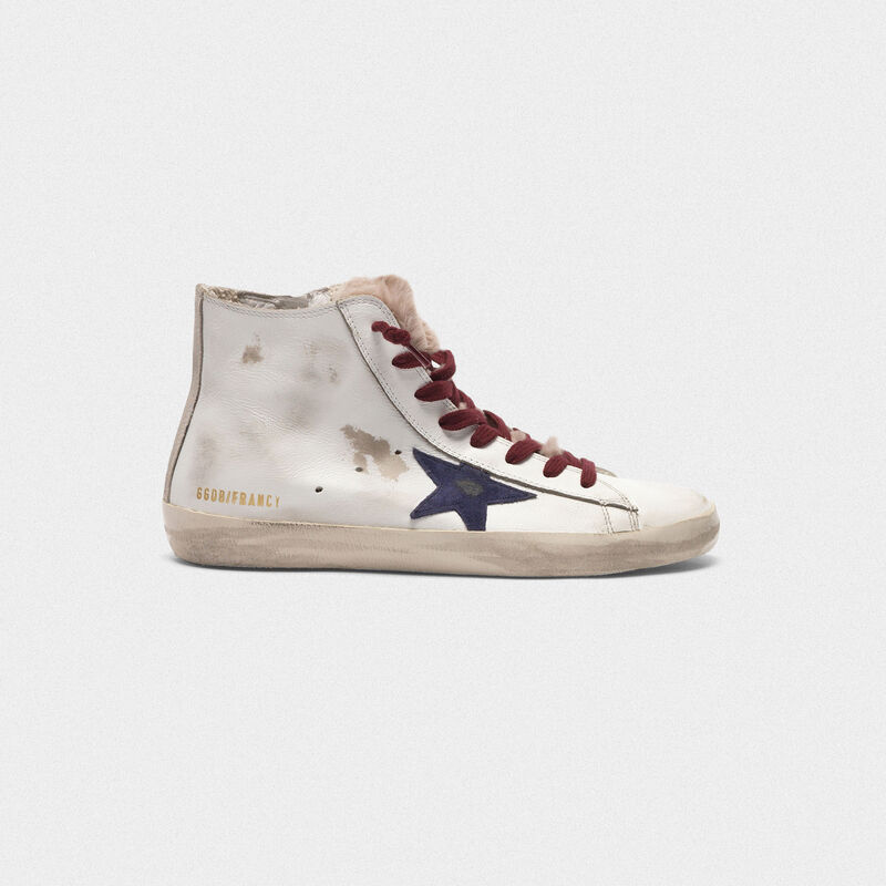 Golden Goose - Sneakers Francy in pelle con linguetta in pelliccia in  image number null