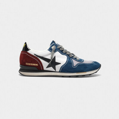 Running sneakers in petrol and burgundy with black star