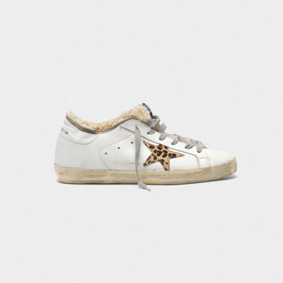 Superstar sneakers with double structure in shearling and leopard print star