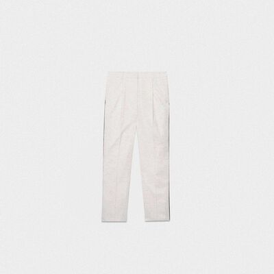 Austin fitted trousers in cotton with multi-colour threads