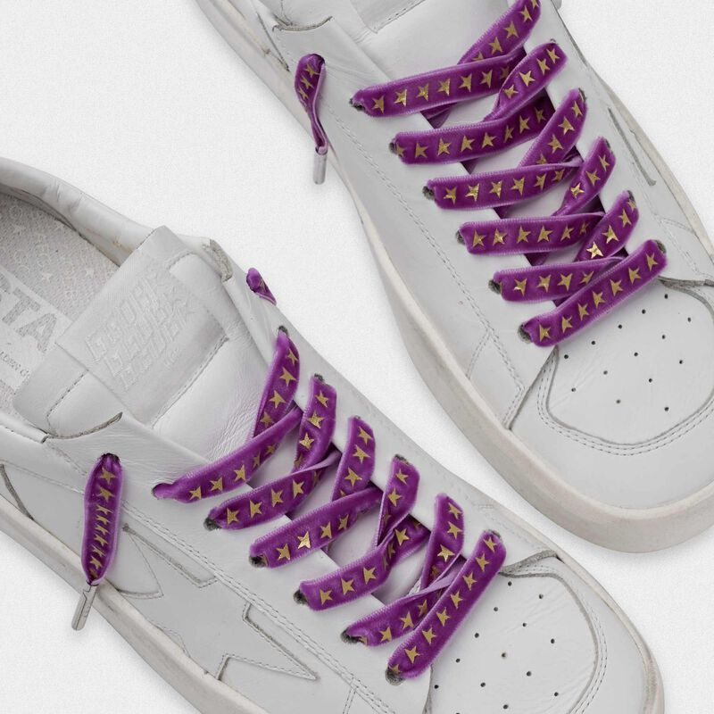 Golden Goose - Women's purple velvet laces with gold stars in  image number null