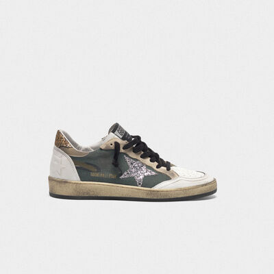 Camouflage Ball Star sneakers with glittery star and heel tab