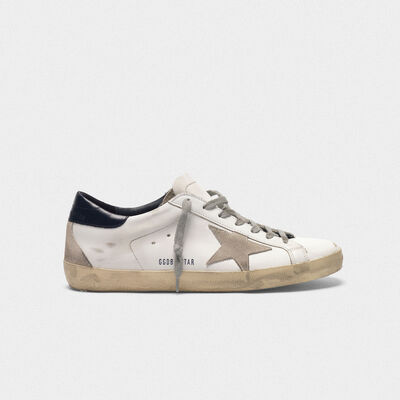 Sneakers Superstar in pelle con stella camoscio