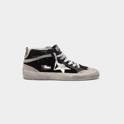 Sneakers Mid-Star in velluto, suede e retro con glitter