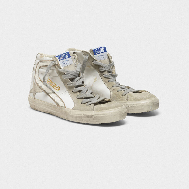 Golden Goose - Slide sneakers in leather with suede star and details in  image number null