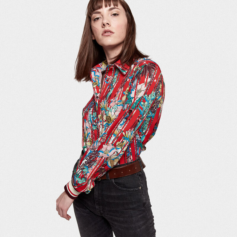 Golden Goose - Isako shirt in striped fabric with Japanese flowers in  image number null