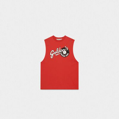 Red sleeveless Marfa T-shirt with Golden print