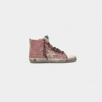 Sneakers Francy in pelle argentata e glitter