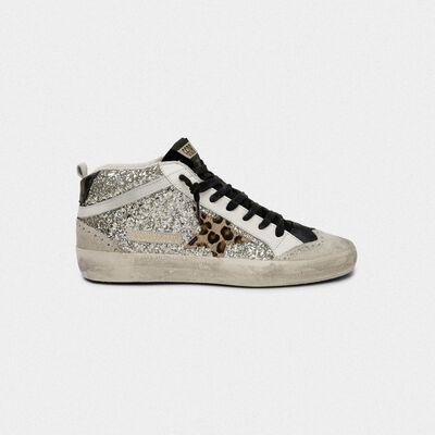 Sneakers Mid-Star in glitter con stella leopardata