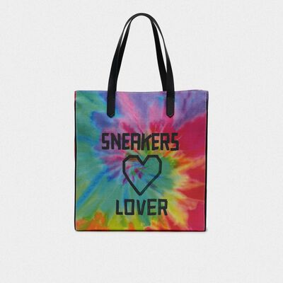 Borsa California North-South tie-dye con stampa Sneakers Lover