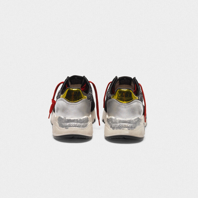Golden Goose - Sneakers Running Sole con glitter, pelle laminata e lacci rossi in  image number null