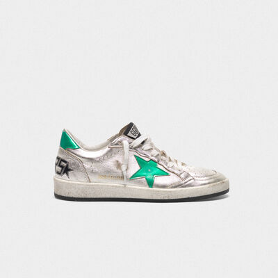 Silver Ball Star sneakers with green star and heel tab