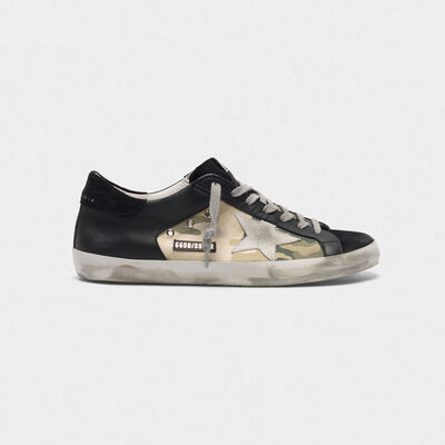 Superstar sneakers in black leather and camouflage canvas