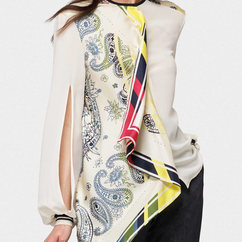 Golden Goose - Eleanor silk shirt with multi-colour bandana print in  image number null