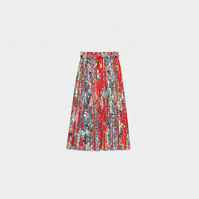 Midori skirt with striped floral print