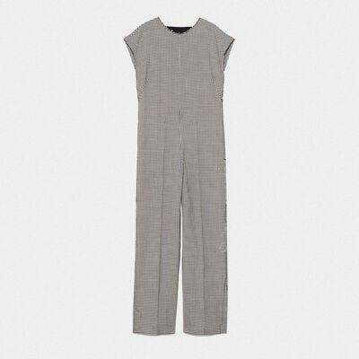 Narumi jumpsuit in cotton and wool with checked pattern