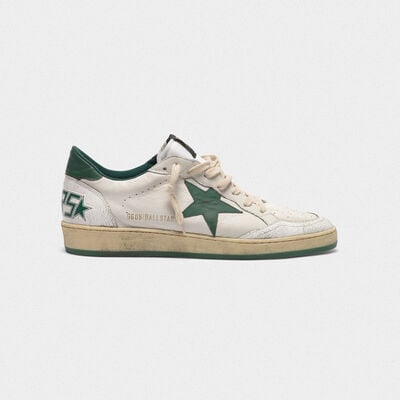 Ball Star sneakers in white/green leather