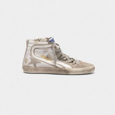 Sneakers Slide in pelle con stella in camoscio