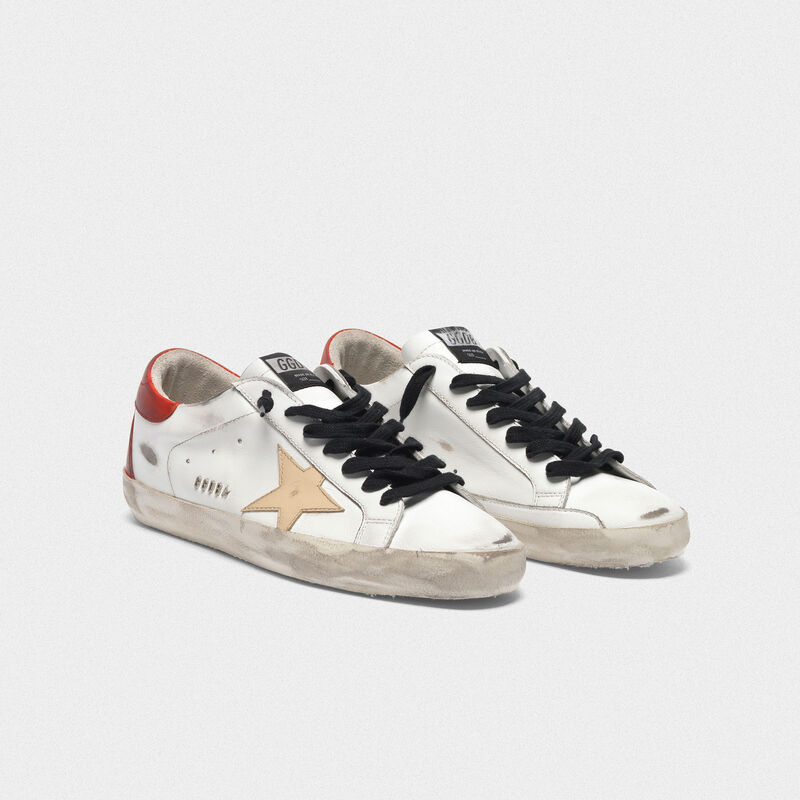 Golden Goose - Sneakers Superstar bianche con retro rosso e lacci neri in  image number null