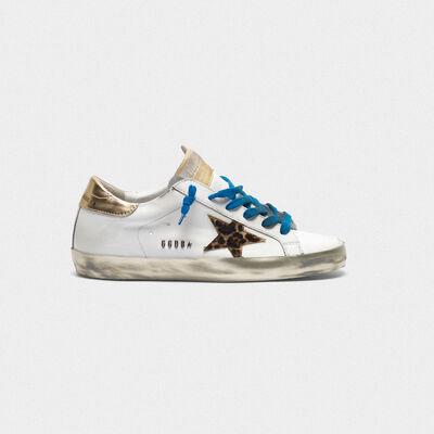 Sneakers Superstar con foxing sparkle e stella leopardata