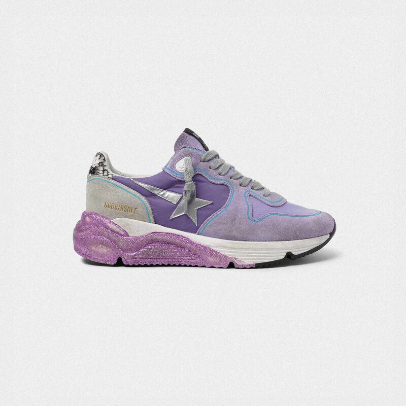 Golden Goose - Lavender Running Sole sneakers with glittery sole and silver star in  image number null