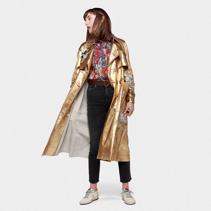 Golden Goose - Trench Masami in pelle con stampe   in  image number null