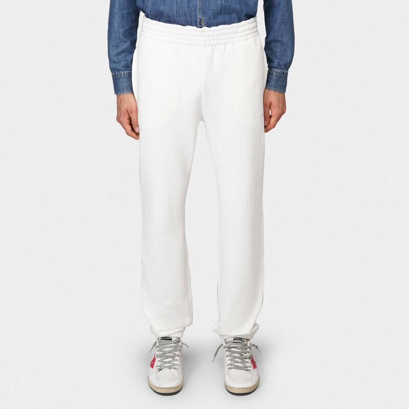 Golden Goose - White Hamm joggers with Love embroidery in  image number null