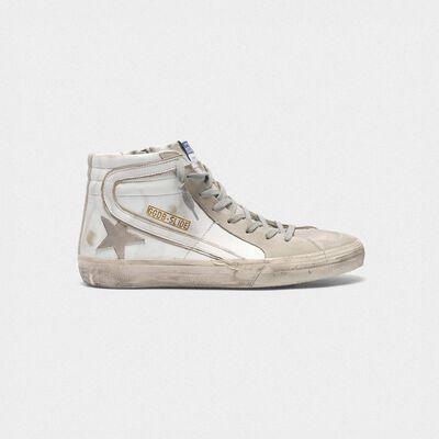 Sneakers Slide in pelle con stella e dettagli in camoscio