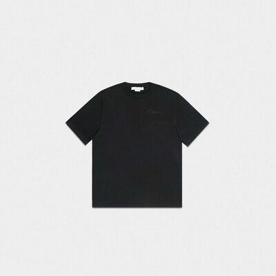 T-shirt Golden nera con ricamo Love
