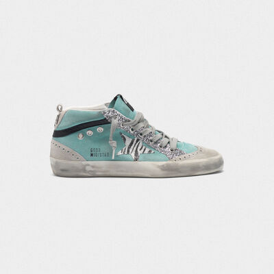 Suede Mid-Star sneakers with glitter and zebra-print star