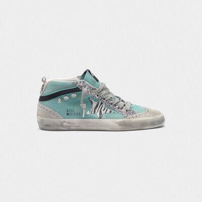 Sneakers Mid-Star scamosciate con glitter e stella zebrata