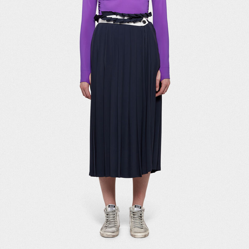 Golden Goose - Hasu colour-block skirt in crepe de chine with sunray pleats in  image number null