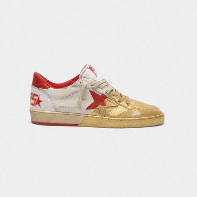Zapatillas deportivas Ball Star de piel pintada en dorado en el frontal