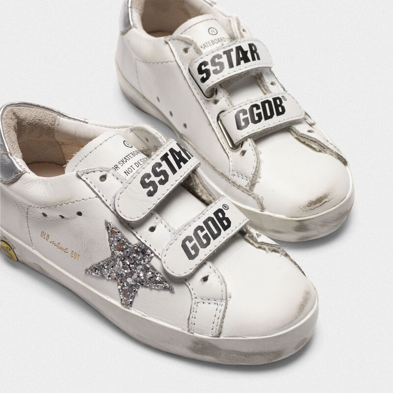 Golden Goose - Sneakers Old School bianche con stella glitter talloncino argento in  image number null