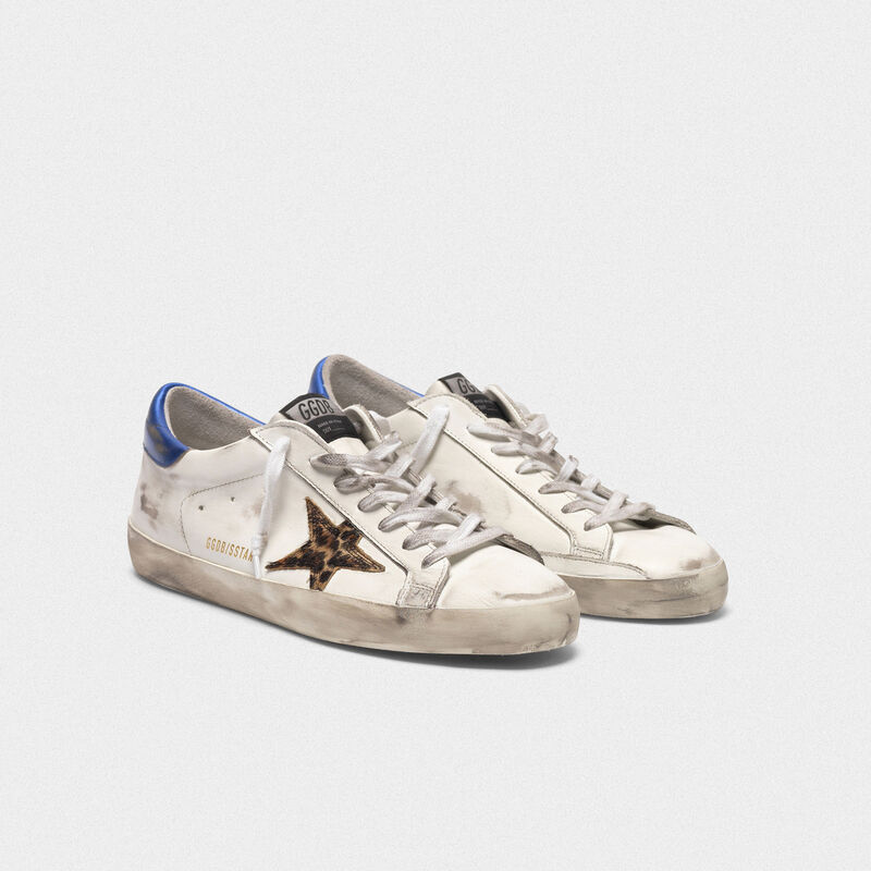 Golden Goose - Sneakers Superstar con stella leopardata e talloncino blu   in  image number null