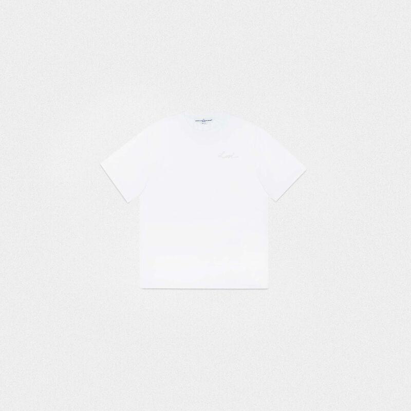 Golden Goose - T-shirt Golden bianca con ricamo Love in  image number null