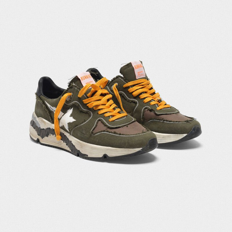 Golden Goose - Sneakers Running Sole in canvas con bordi raw edge in  image number null