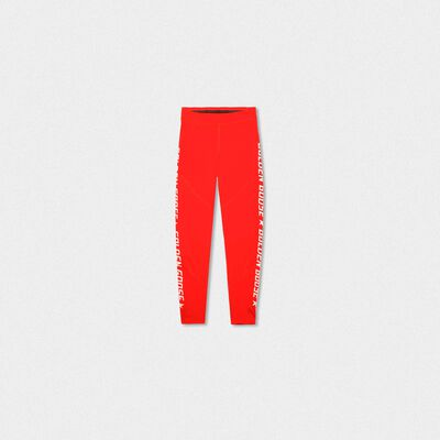 Red Nori leggings in technical fabric with contrasting logo