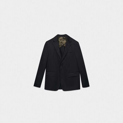 Single-breasted black Golden jacket in poplin