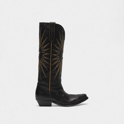 Botas Wish Star de piel brillante con decoraciones western