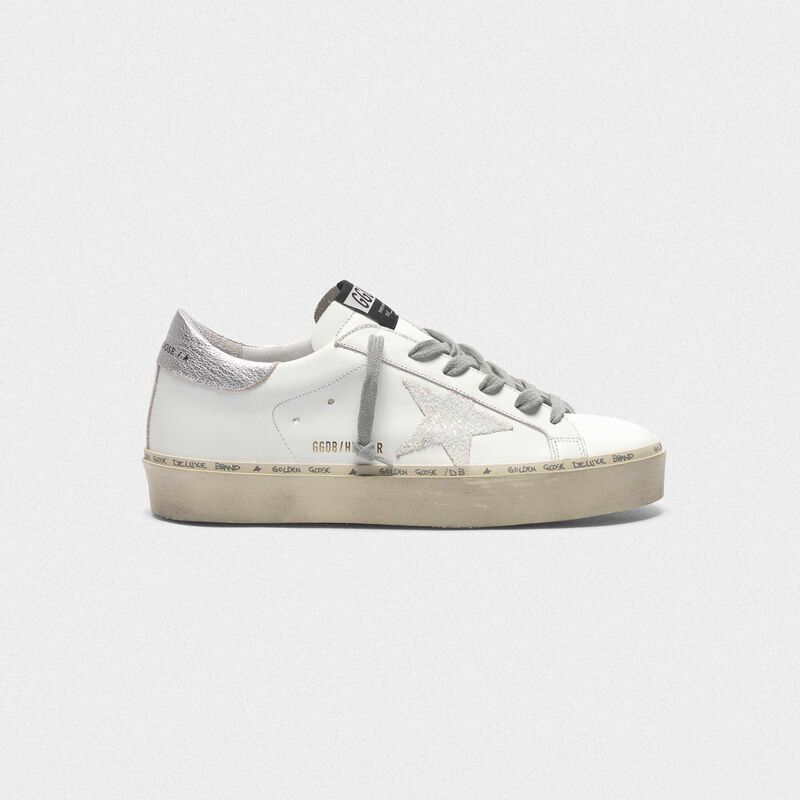 Golden Goose - Hi Star sneakers with iridescent star and silver heel tab in  image number null