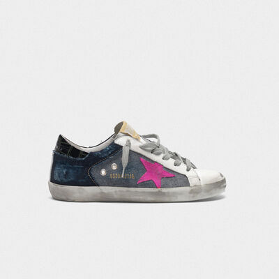 Superstar sneakers in denim with fuchsia star