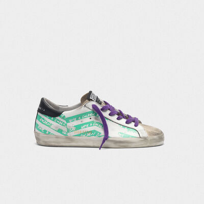 Sneakers Superstar con stampa flag verde acqua