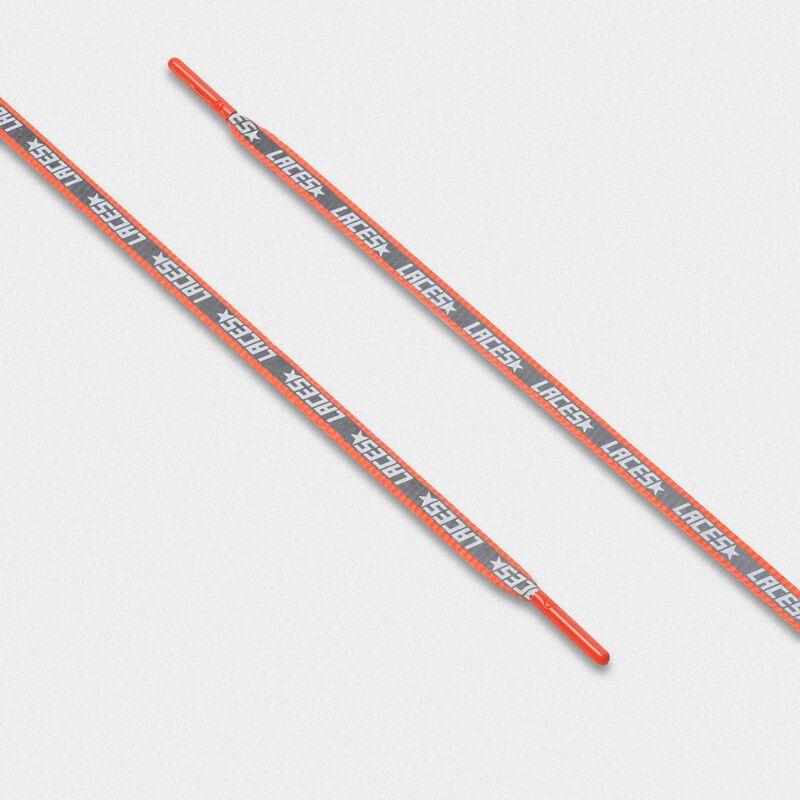 Golden Goose - Lacci donna riflettenti arancio fluo con stampa laces   in  image number null