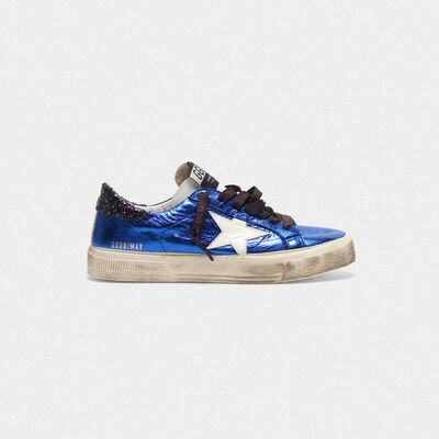 Sneakers May in pelle laminata con talloncino glitter