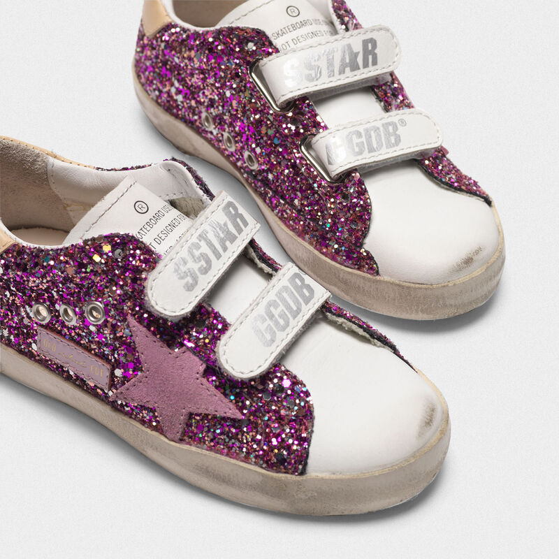 Golden Goose - Old School sneakers with fuchsia glitter and pink star in  image number null